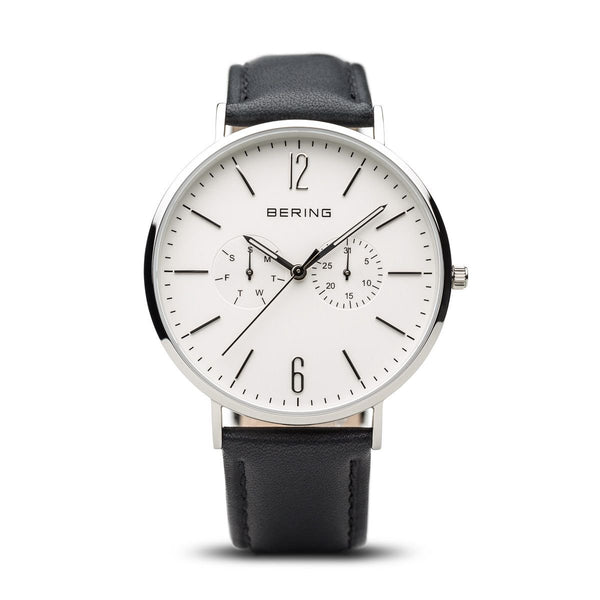 Bering-Classic White Dial Leather Black Silver + Extra Nylon Strap-Watch-14240-404-THE UNIT STORE