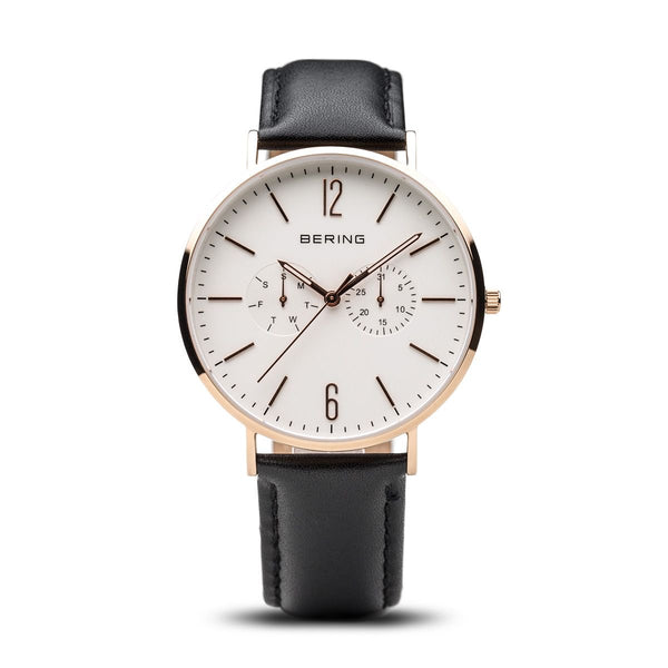 Bering-Classic White Dial Leather Black RG + Extra Nylon Strap-Watch-14240-464-THE UNIT STORE