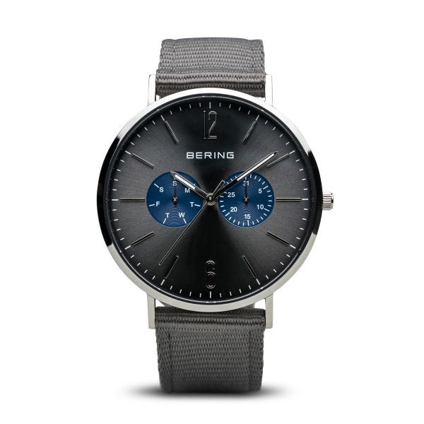 Bering Classic Grey Dial w Fixed Strap + Extra Grey Nato Str 14240-803