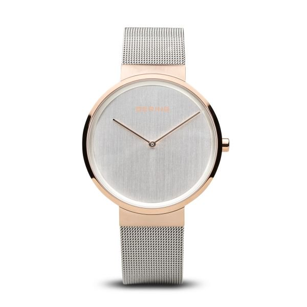 Bering-Classic Silver Dial RG Case Grey Mesh-Watch-14539-060-THE UNIT STORE