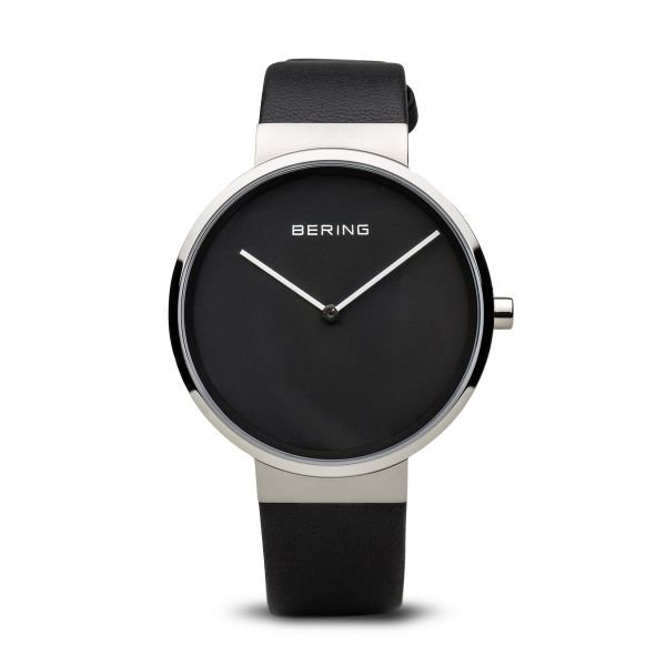 Bering-Classic Big Black Dial Silver Case Black Strap-Watch-14539-402-THE UNIT STORE