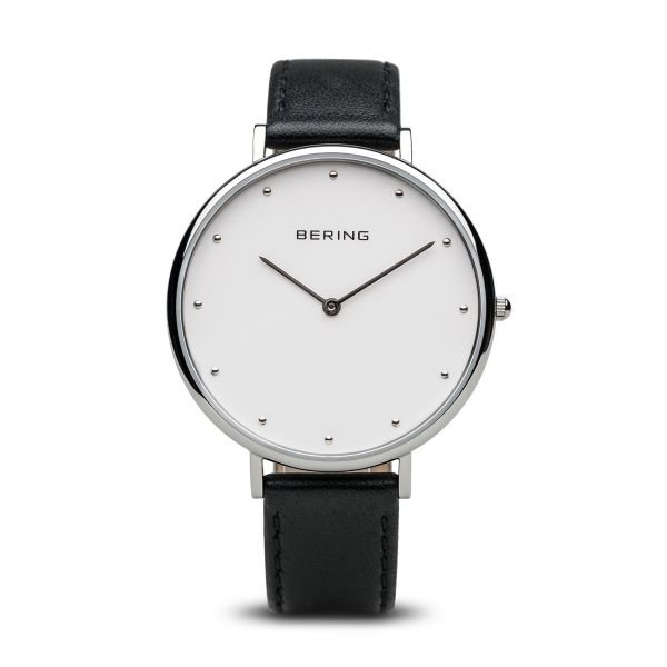 Bering-Classic Big White Dial Silver Case Black Strap-Watch-14839-404-THE UNIT STORE