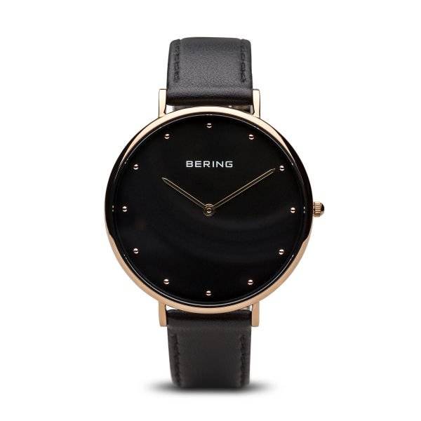 Bering-Classic Black Dial Polished RG Case Black Calfskin-Watch-14839-462-THE UNIT STORE
