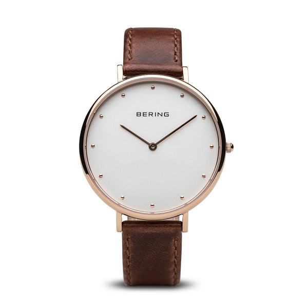 Bering-Classic White Dial RG Case Leather DK Brown Strap-Watch-14839-564-THE UNIT STORE