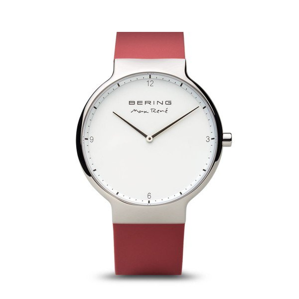 Bering-Max Rene White Dial Silver Shiny Case Silicone Red Strap-Watch-15540-500-THE UNIT STORE