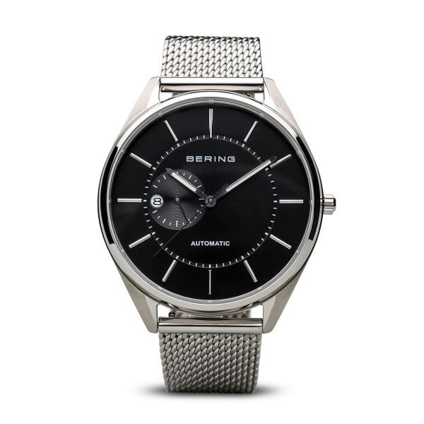 Bering-Miyota Automatic date 24 hrs Black dial Silver Mesh-Watch-16243-077-THE UNIT STORE