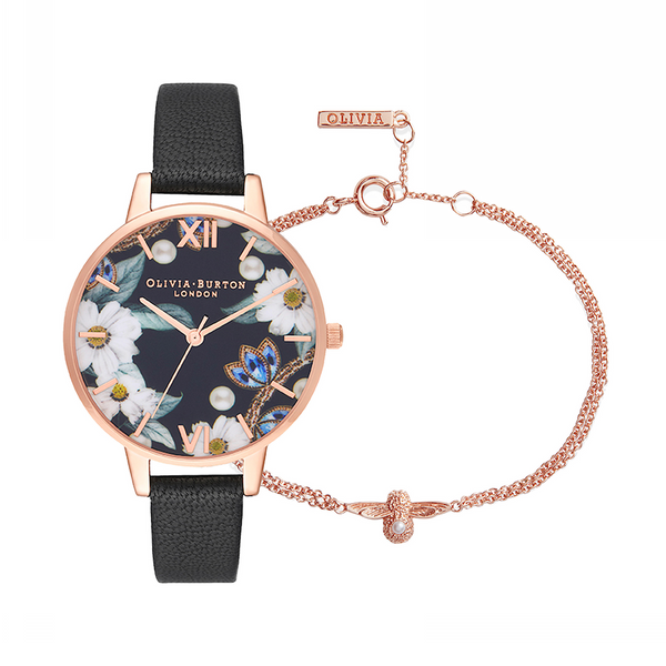 OLIVIA BURTON-Bewejelled Gift Set Black & Rose Gold-Watch-OB16GSET24-THE UNIT STORE