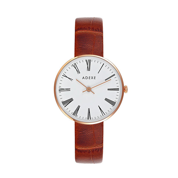 ADEXE-VX50 / Rose Gold / White / L.Brown-Watch-1887B-02-THE UNIT STORE
