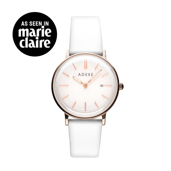 ADEXE-GN15-3 / IP Pink RG / Silver Matt / White-Watch-2043A-04-THE UNIT STORE