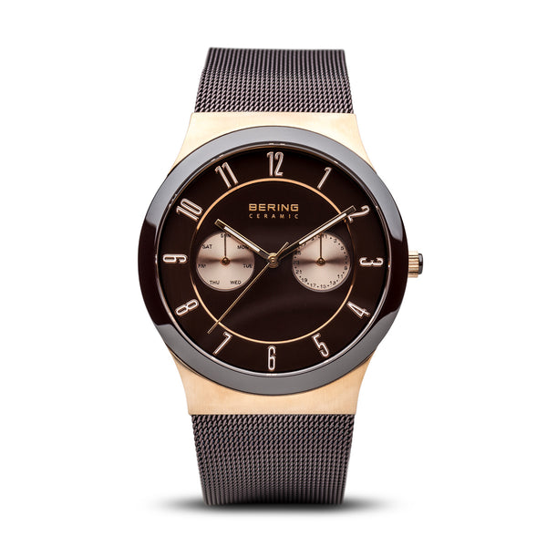 Bering-Ceramic/Brown/Rose Gold/Brown Mesh/39mm-Watch-32139-265-THE UNIT STORE