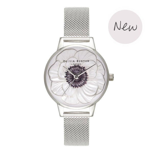 OLIVIA BURTON-3D Anemone Silver Mesh-Watch-OB16AN01-THE UNIT STORE