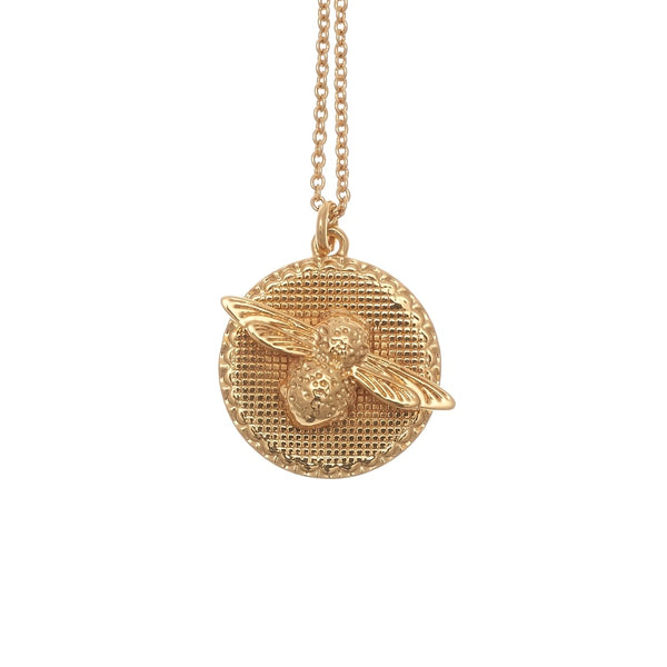 3D Bee And Coin Necklace Gold__OLIVIA BURTON_Jewellery_THE UNIT STORE