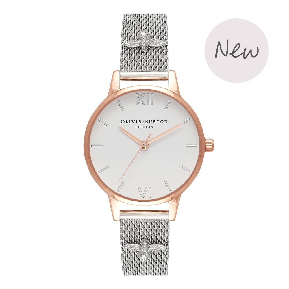 OLIVIA BURTON-3D Bee Rose Gold & Silver Mesh-Watch-OB16ES04-THE UNIT STORE