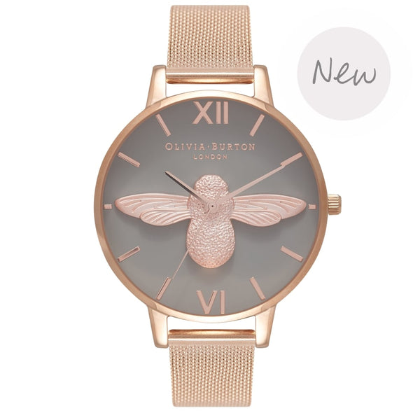 OLIVIA BURTON-Animal Motif Moulded Bee Rose Gold Mesh-Watch-OB16AM117-THE UNIT STORE