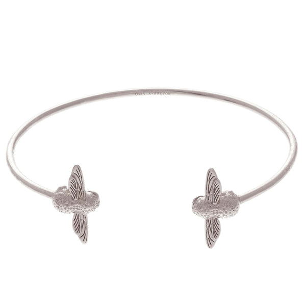 OLIVIA BURTON-3D Bee Open End Bangle Silver-Jewellery-OBJ16AMB03-THE UNIT STORE