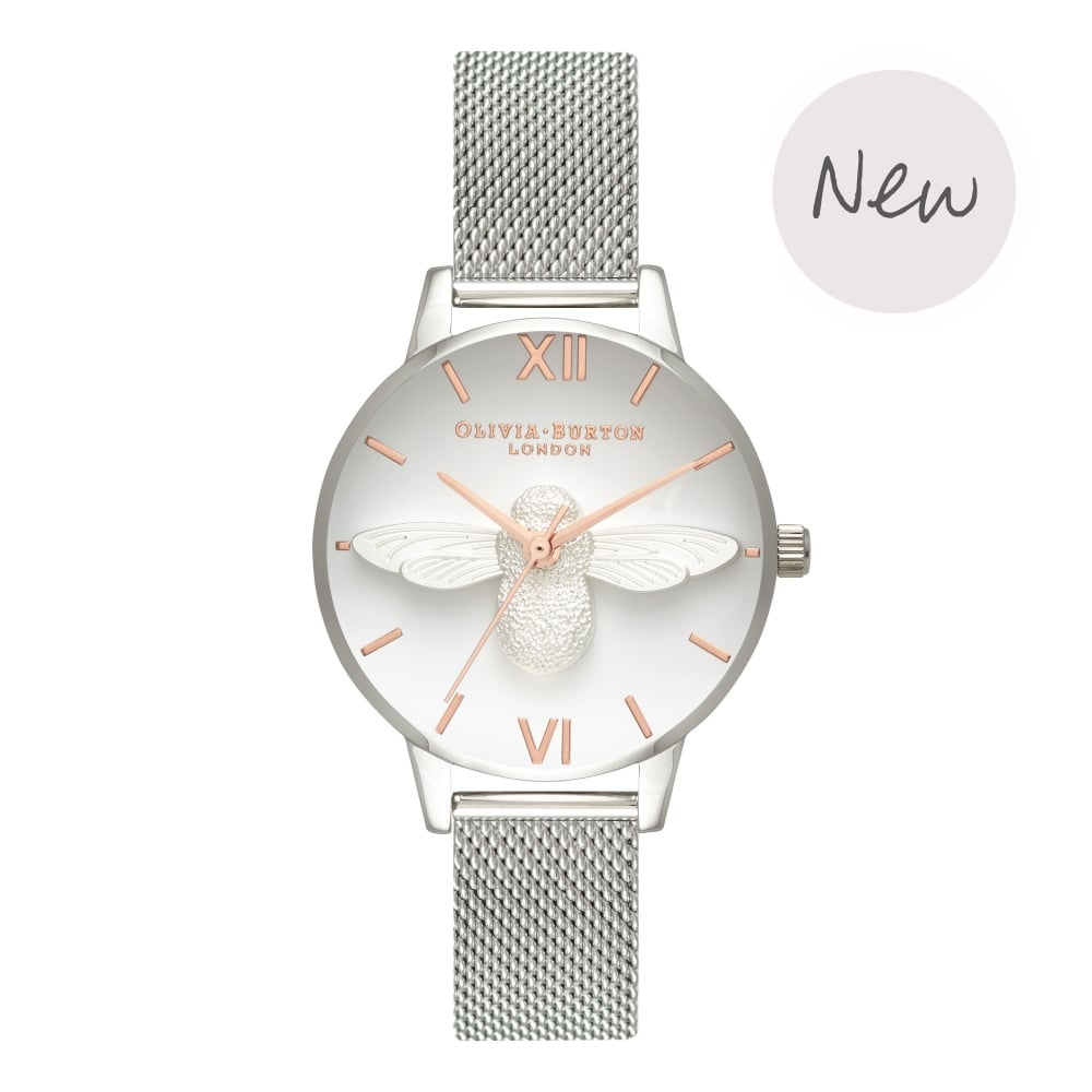 OLIVIA BURTON-3D Bee Rose Gold & Silver Mesh-Watch-OB16AM146-THE UNIT STORE