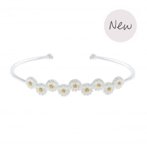 3D Daisy Bangle Silver & Gold