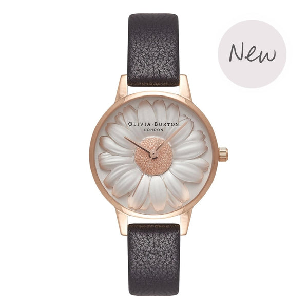 OLIVIA BURTON-3D Daisy Black & Rose Gold-Watch-OB16FS97-THE UNIT STORE