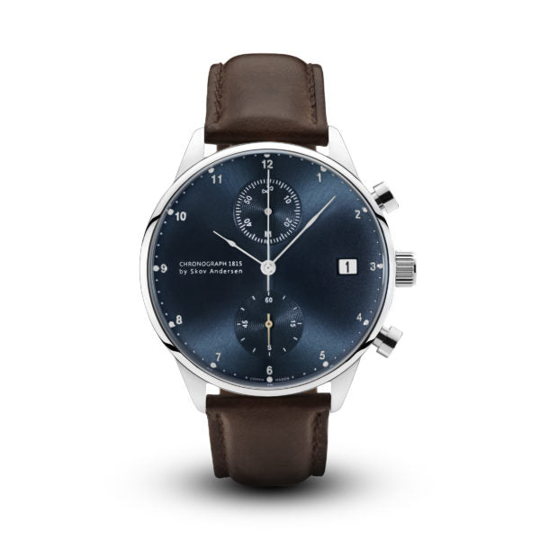 About Vintage 1815 Chronograph, Blue dial Dark Brown 1815BL-S-DB