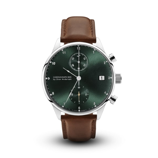 About Vintage-Quartz Chrono 1815 Green/Steel/Brown/41mm-Watch-1815GR-S-BR-THE UNIT STORE
