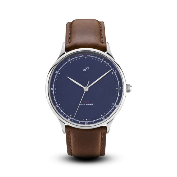 About Vintage 1969 (SE) Steel / Midnight Blue (39mm) Brown 1969MB-S-BR-39
