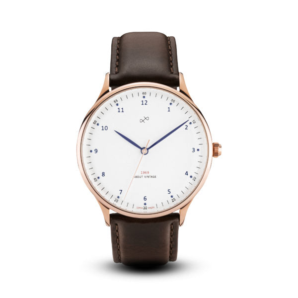 1969 Rose Gold / White (36mm) Dark Brown__About Vintage_Watch_THE UNIT STORE