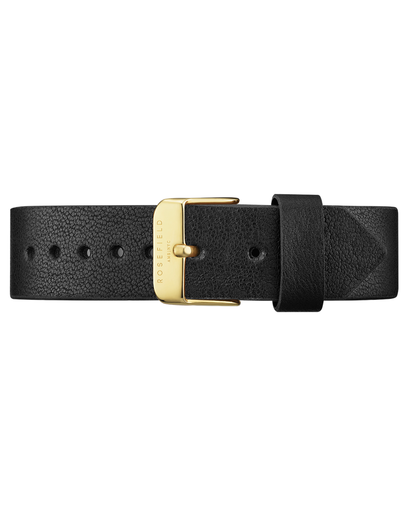 Black Leather Gramercy Strap Gold