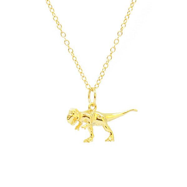 Cirque Poesie-3D Dinosaur Necklace Gold-Jewellery-CP-NL-DIN-G-00-THE UNIT STORE