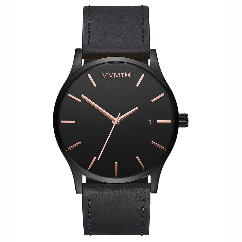 MVMT-Mens Classic Black Rose Leather 45 mm-Watch-D-MM01-BBRGL-THE UNIT STORE