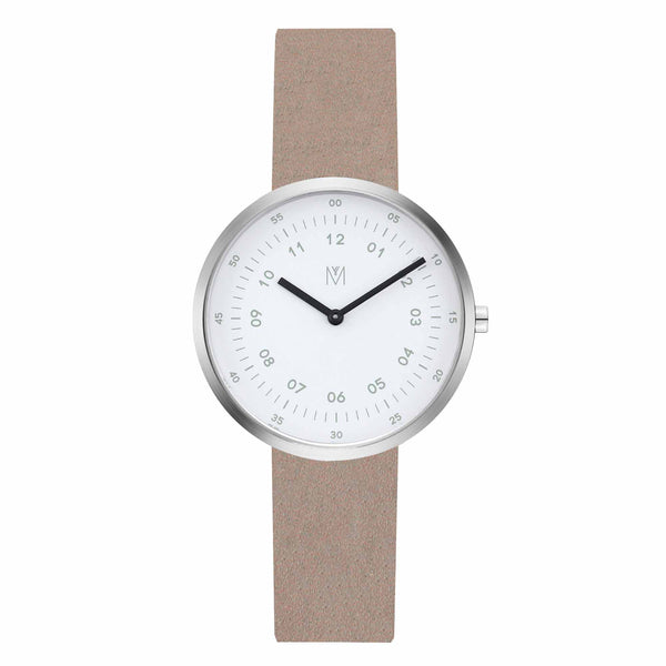 Maven-Drizzle White/Silver/Camel Leather/34mm-Watch-WU MV1001LPIWCL-THE UNIT STORE