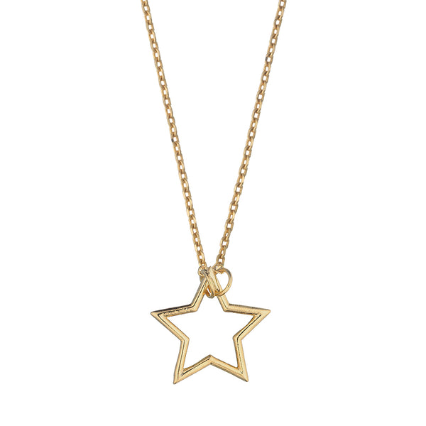 Open Star Necklace Gold Plated