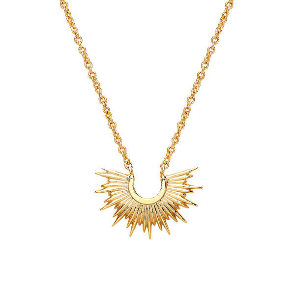 Half Sunburst Necklace Gold Plated