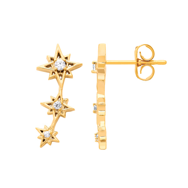 Multi Star Cz Earrings Gold Plated