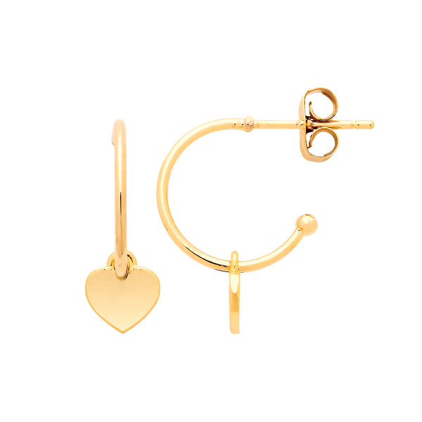 Heart Drop Hoop Earrings Gold Plated