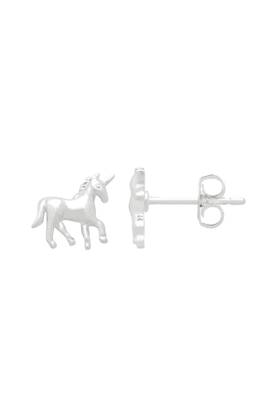 Unicorn Stud Earrings Silver Plated
