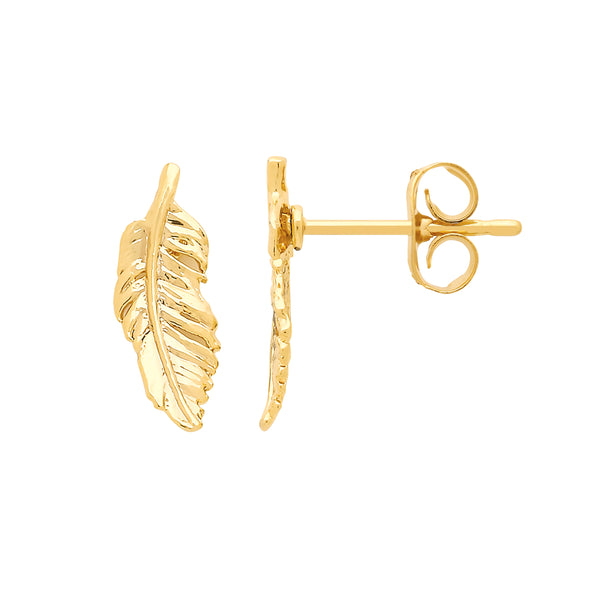 Estella Bartlett Feather Stud Earrings Gold Plated EB1986