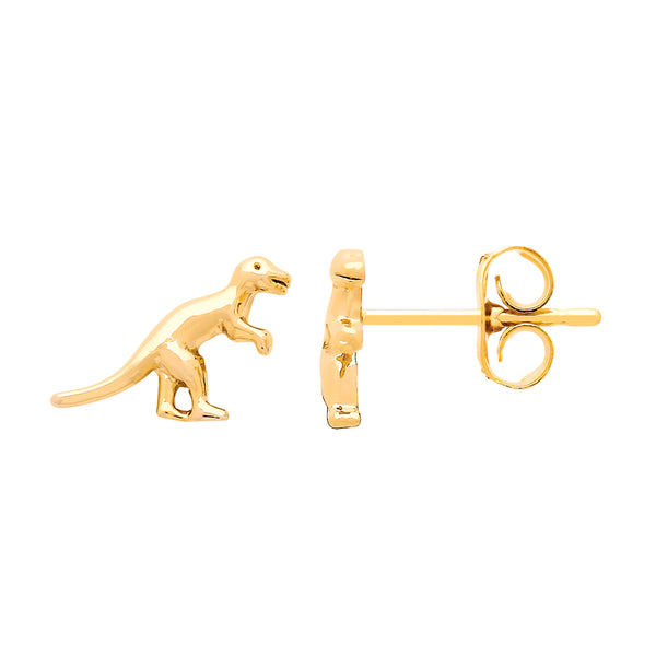 Dinosaur Stud Earrings Gold Plated