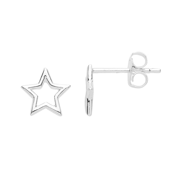 Small Open Star Stud Earrings Silver Plated