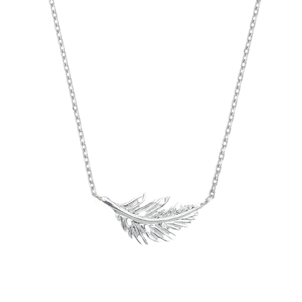 Botanica Feather Necklace Silver Plated