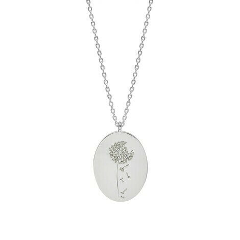 Estella Bartlett-Dandelion Engraved Oval Necklace Silver-Jewellery-EB3430C-THE UNIT STORE