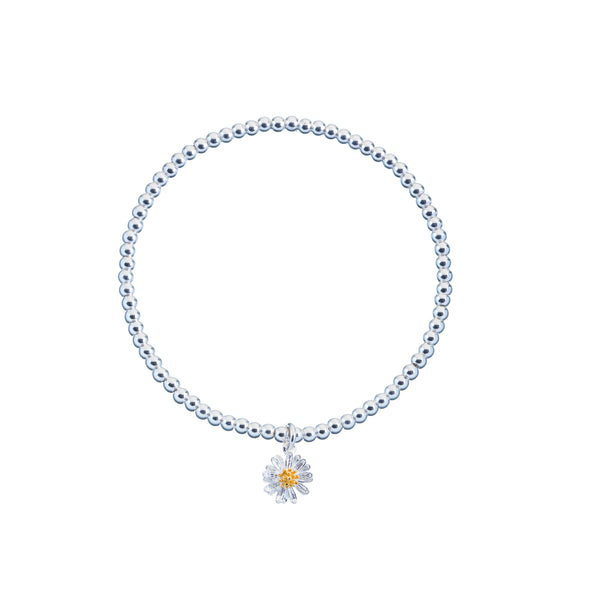 Estella Bartlett-Sienna Bracelet Silver Beads with Wildflower-Jewellery-EB812C-THE UNIT STORE
