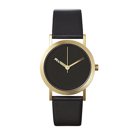 Normal Timepieces-Gold Finish / Black Face / Black Leather-Watch-EN08-L18BL-THE UNIT STORE