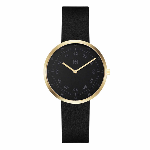 Maven Friday Black/Gold/Black Leather/34mm WU MV1001LGPBBK