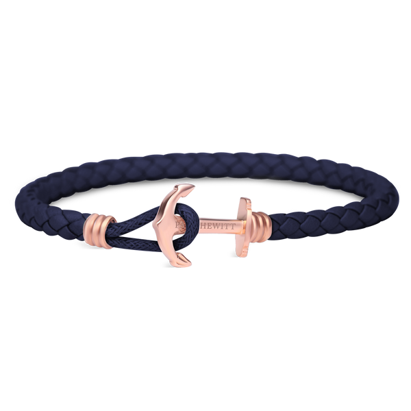 Paul Hewitt-Anchor Bracelet PHREP Lite IP Rose Gold Navy Blue-Jewellery-THE UNIT STORE