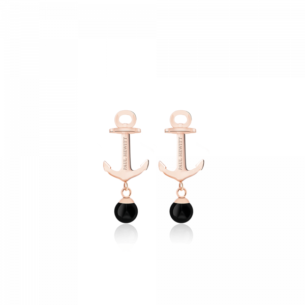 Paul Hewitt-Earring Anchor Pearl IP Rose Gold Onyx-Jewellery-PH-ER-ND-R-O-THE UNIT STORE