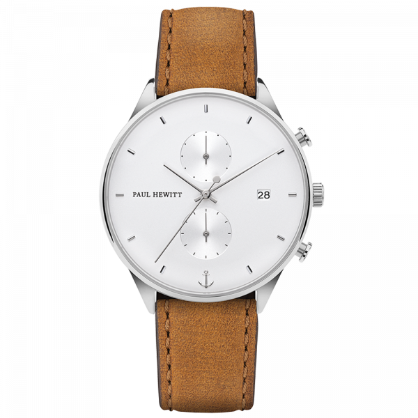 Paul Hewitt-Chrono Line White Sand Steel Leather Mustard-Watch-PH-C-S-W-49M-THE UNIT STORE