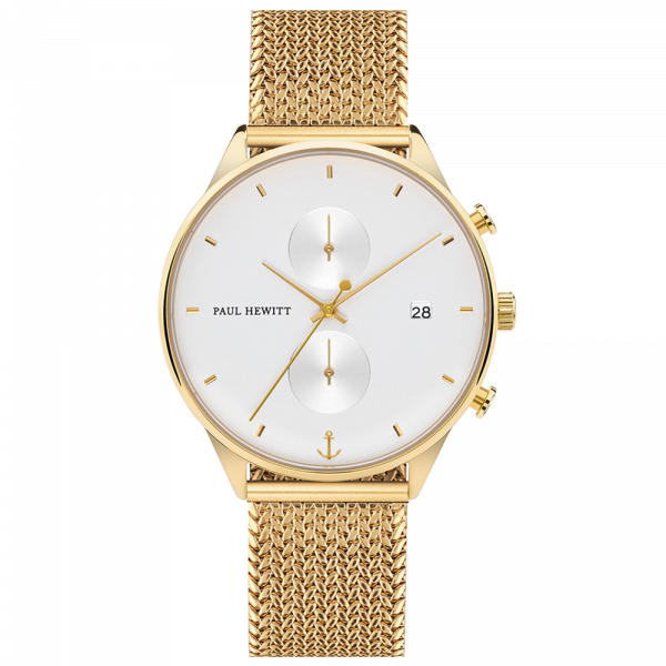 Paul Hewitt-Chrono Line White Sand IP Gold Woven Mesh Gold-Watch-PH-C-G-W-50S-THE UNIT STORE