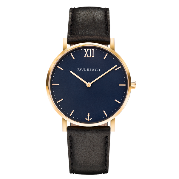 Paul Hewitt-Sailor Line Blue/Gold/Black Leather/36mm-Watch-PH-SA-G-Sm-B-2S-THE UNIT STORE