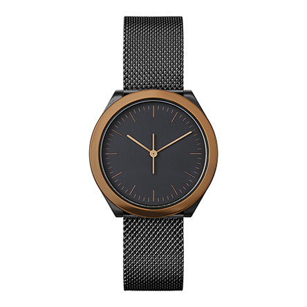 Normal Timepieces-Brown and Black Case / Black Mesh Band-Watch-H02-M15BL-THE UNIT STORE