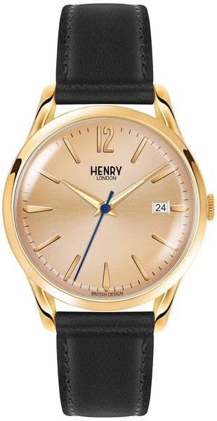 HENRY LONDON-Westminster - 39mm analogue (GD dial) BLK strap-Watch-HL39-S-0006-THE UNIT STORE